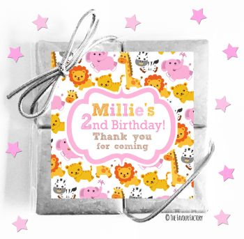 Kids Party Chocolate Quads Favours Jungle Animals Girls x1