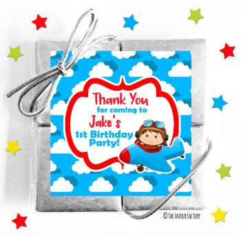 Kids Party Chocolate Quads Favours Little Pilot Flying x1
