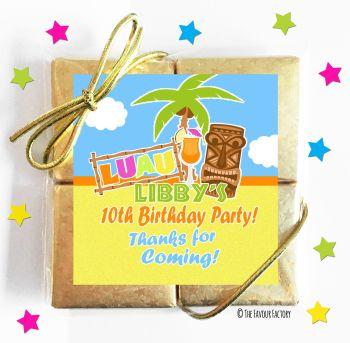 Kids Party Chocolate Quads Favours Hawaiian Luau x1