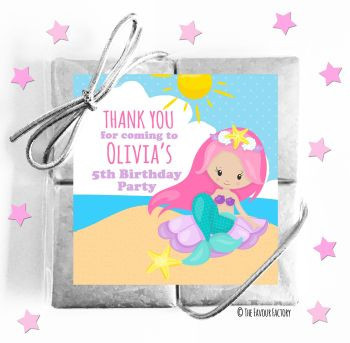 Kids Party Chocolate Quads Favours Mermaid on Beach x1
