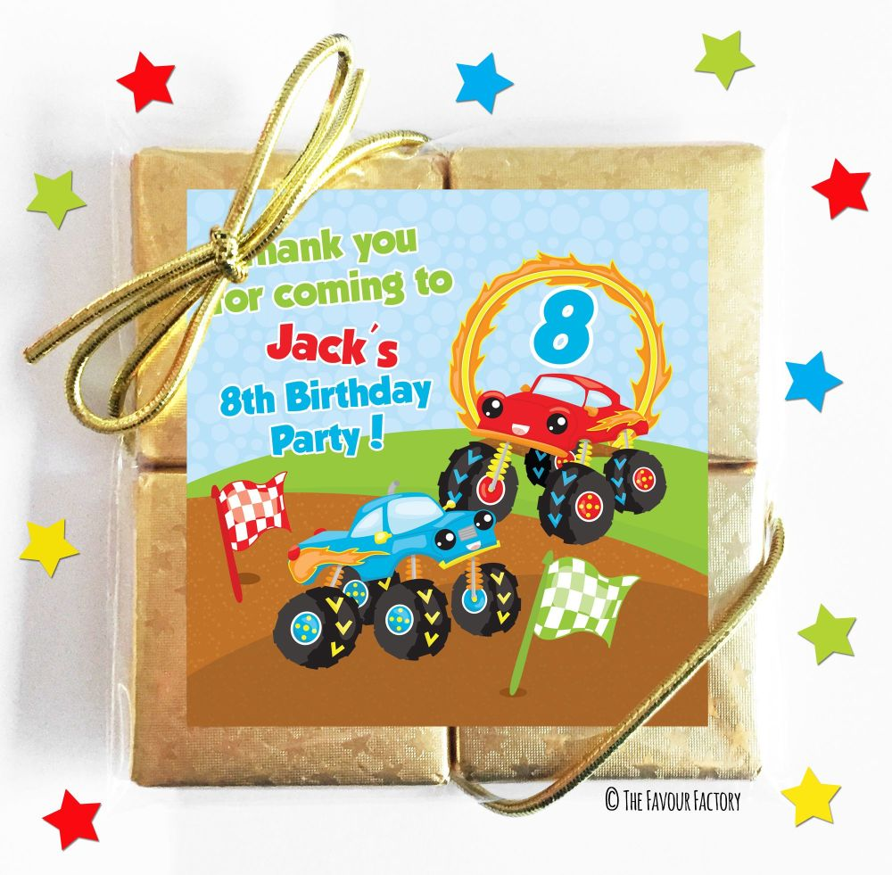 Monster Trucks Kids Party Chocolate Quads