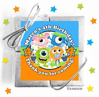 Kids Party Chocolate Quads Favours Party Monsters x1