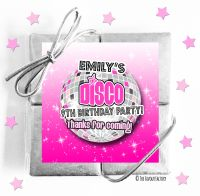 Disco Ball Pink Kids Party Chocolate Quads