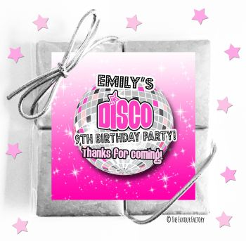 Kids Party Chocolate Quads Favours Disco Ball Pink x1