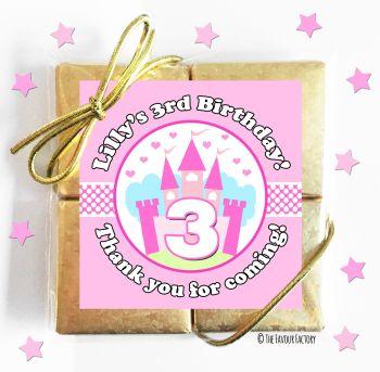 Kids Party Chocolate Quads Favours Princess Castle x5