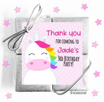 Kids Party Chocolate Quads Favours Rainbow Hair Unicorn x1