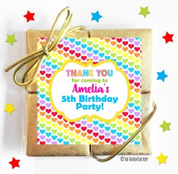 Kids Party Chocolate Quads Favours Polka Dot Hearts x1
