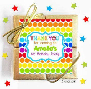 Kids Party Chocolate Quads Favours Polka Dot Rainbows x1