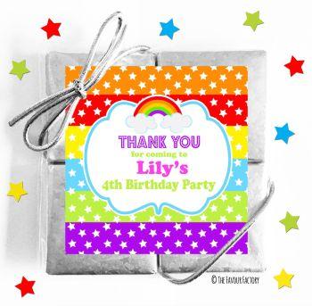 Kids Party Chocolate Quads Favours Rainbow Stars & Stripes x1