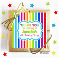 Rainbow Stripes Kids Party Chocolate Quads