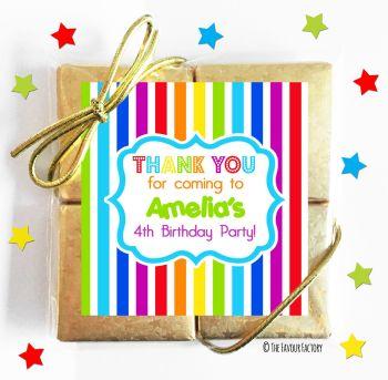 Kids Party Chocolate Quads Favours Rainbow Stripes x1