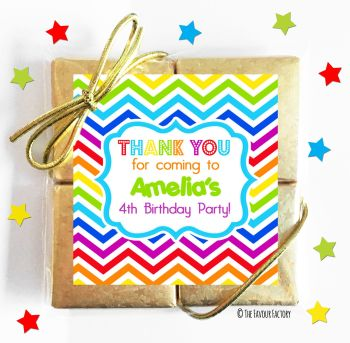 Kids Party Chocolate Quads Favours Rainbow Zig Zags x1