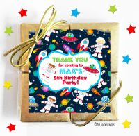 Spaceman Space Theme Kids Party Chocolate Quads