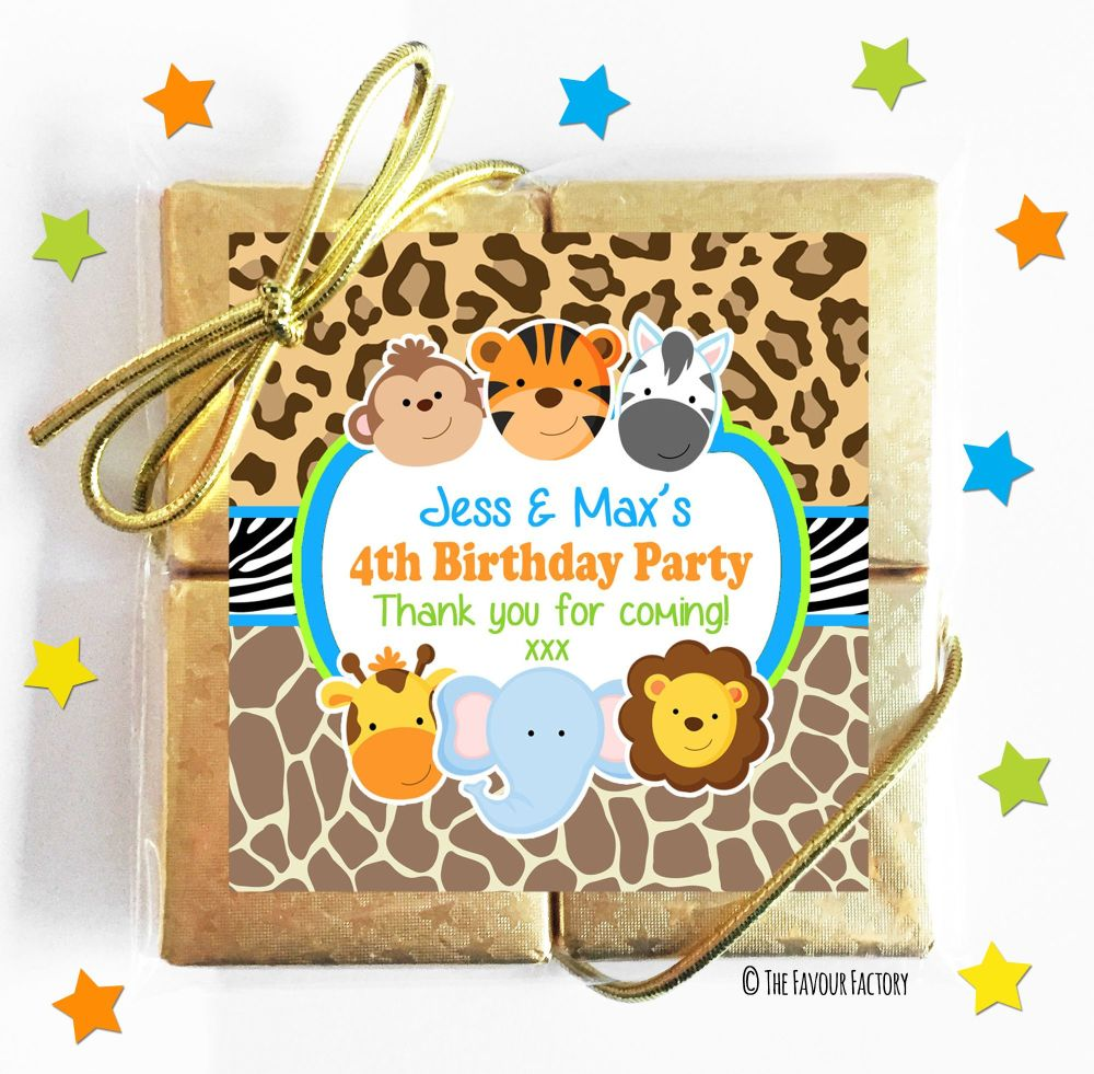 Wild Animals Prints Kids Party Chocolate Quads
