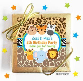 Kids Party Chocolate Quads Favours Wild Animals Prints x1