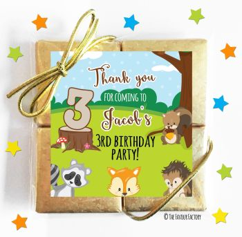Kids Party Chocolate Quads Favours Woodland Animals x1