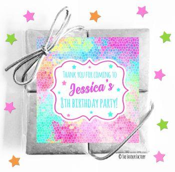 Kids Party Chocolate Quads Favours Rainbow Mosaic x1