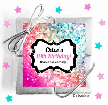 Kids Party Chocolate Quads Favours Sparkle Pinks to Purples x1