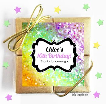 Kids Party Chocolate Quads Favours Sparkles Yellows to Purples x1