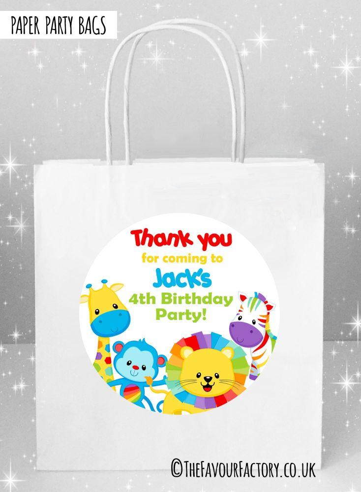 Kids Party Bags Rainbow Animals x1