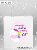 Kids Party Bags Rainbow Hair Unicorn x5