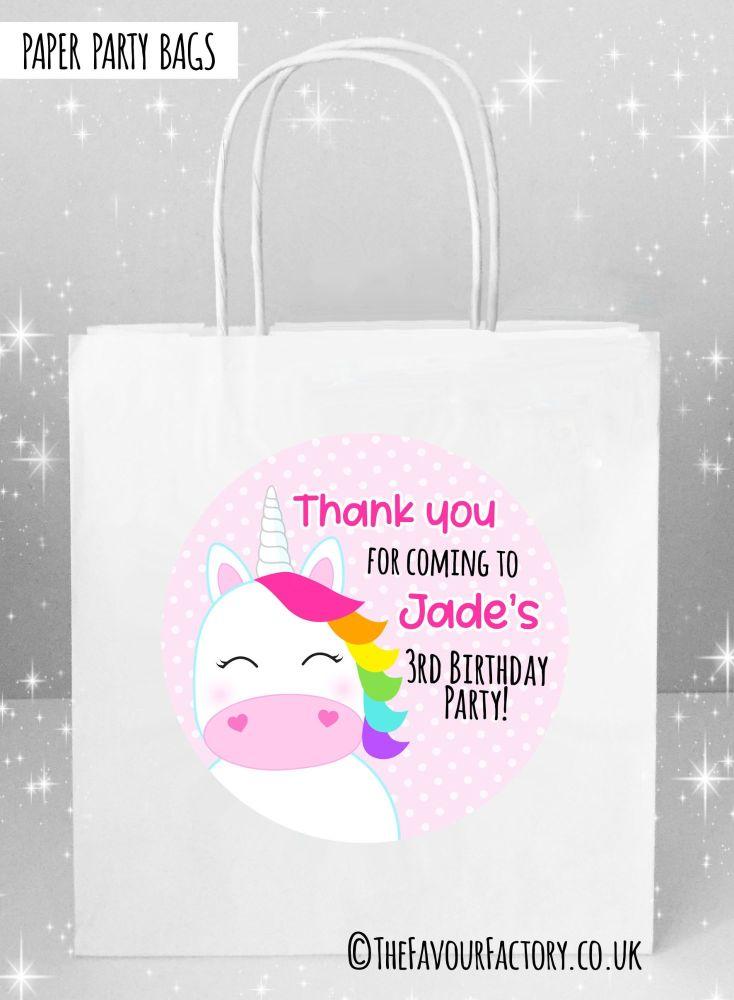 Kids Party Bags Rainbow Hair Unicorn x1