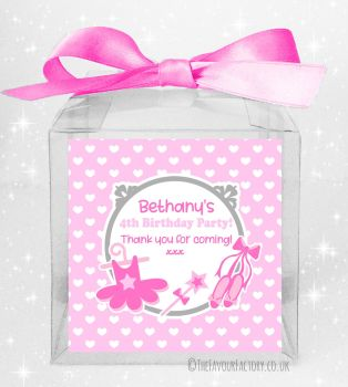 Kids Party Personalised Clear Sweet Treat Boxes Ballet x5