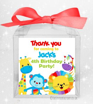 Kids Party Sweet Boxes Personalised Rainbow Animals x5