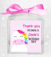Kids Party Sweet Boxes Kits Personalised Rainbow Hair Unicorn x5
