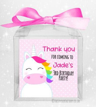 Kids Party Sweet Boxes Kits Personalised Rainbow Hair Unicorn x5