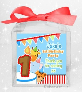 Kids Party Personalised Clear Sweet Treat Boxes Animal Friends Boys x5
