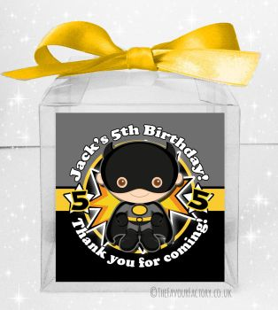 Kids Party Personalised Clear Sweet Treat Boxes Batman x5
