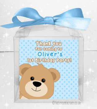 Kids Party Personalised Clear Sweet Treat Boxes Blue Teddy Bear x5