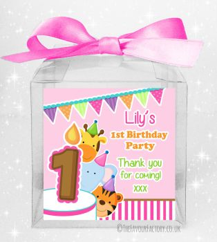 Kids Party Personalised Clear Sweet Treat Boxes Animal Friends Girls x5