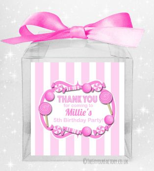 Kids Party Personalised Clear Sweet Treat Boxes Pink Stripes Candy Sweets x5