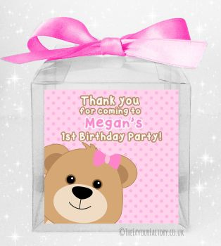 Kids Party Personalised Clear Sweet Treat Boxes Pink Teddy Bear x5