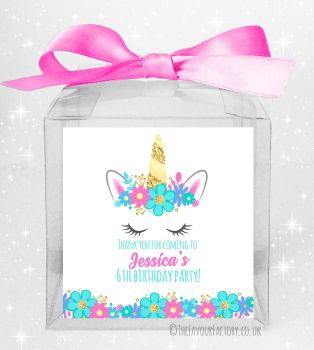 Kids Party Personalised Clear Sweet Treat Boxes Floral Unicorn Face x5