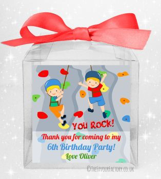 Kids Party Personalised Clear Sweet Treat Boxes Rock Wall Climbing Boys x5