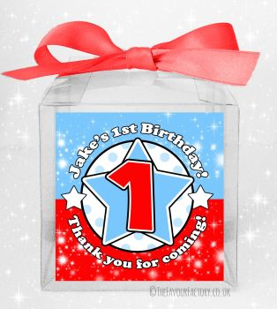 Kids Party Personalised Clear Sweet Treat Boxes Age Star Red & Blue x5