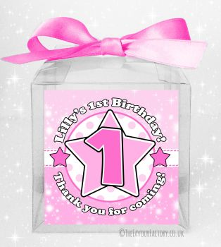 Kids Party Personalised Clear Sweet Treat Boxes Age Star Pink x5