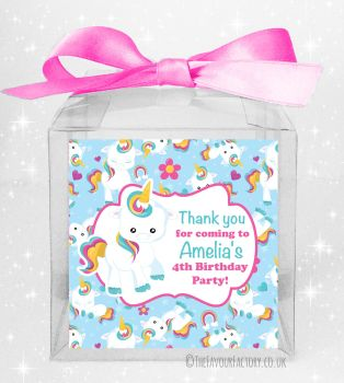 Kids Party Personalised Clear Sweet Treat Boxes Baby Unicorn x5
