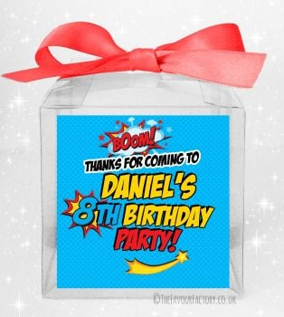 Kids Party Personalised Clear Sweet Treat Boxes Boom Superhero x5