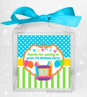 Kids Party Personalised Clear Sweet Treat Boxes Bouncy Castle x1