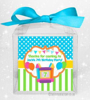 Kids Party Personalised Clear Sweet Treat Boxes Bouncy Castle x5