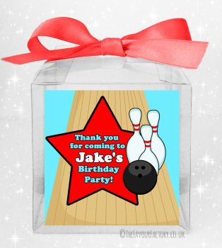 Kids Party Personalised Clear Sweet Treat Boxes Boys Bowling x5
