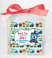 Kids Party Personalised Clear Sweet Treat Boxes Choo Choo Train x1
