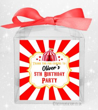 Kids Party Personalised Clear Sweet Treat Boxes Circus Tent x5