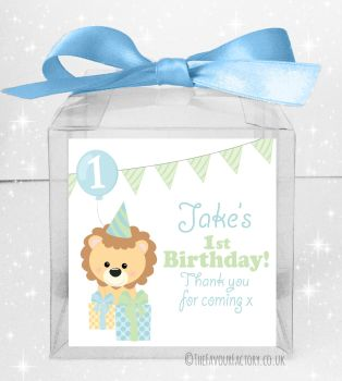 Kids Party Personalised Clear Sweet Treat Boxes Boy Party Lion x5