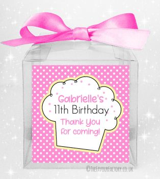 Kids Party Personalised Clear Sweet Treat Boxes Polka Dots Cupcake x5
