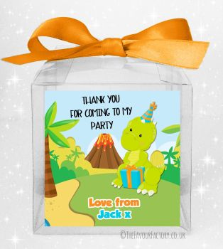 Kids Party Personalised Clear Sweet Treat Boxes Party Dinosaur x5